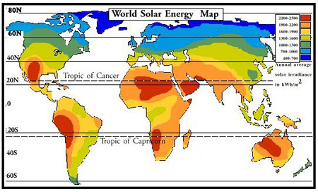solar energy world map